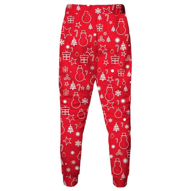 Homens Cloudstyle 3D Vermelho Calças Compridas Impresso Árvores de Natal Corredores Calças Chaminé Estrela Moletom Masculino Cosplay Natal Do Pai