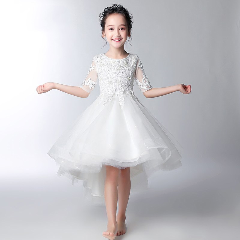 White Flower Girl Dresses for Wedding Beading Princess Dress Ball Gown Short Front Long Back Kids Pageant Dress for Birthday