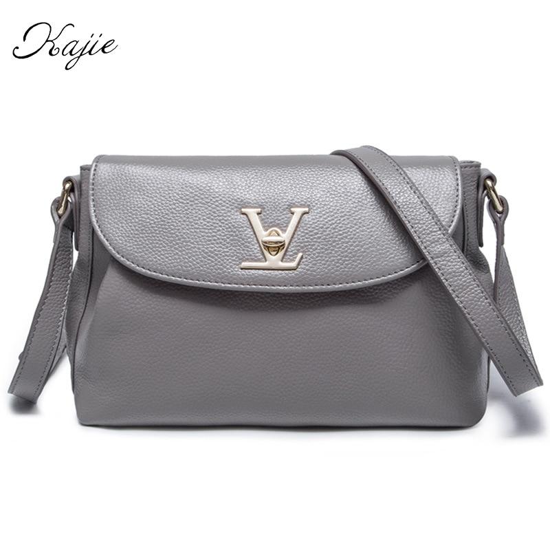 Kajie Women Luxury Messenger Bags Designer New Fashion Genuine Leather Handbag Shoulder Bag Small Tote Satchel Louis Bag 2018