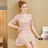 2017 Summer New Women Korean Version Of Small Incense Style Temperament Lace Dress Fashion Two Suit