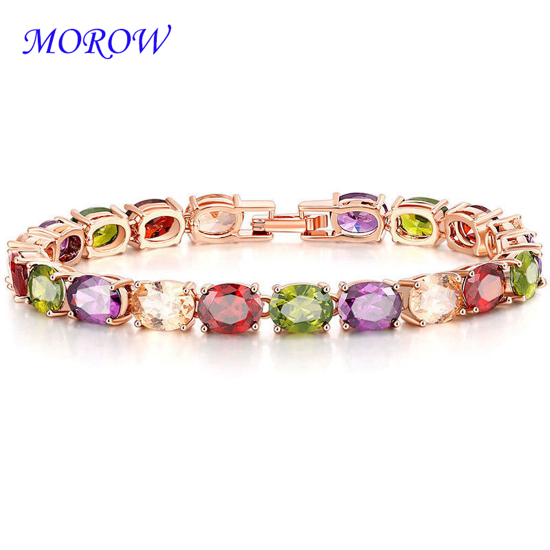 MOROW Fashion Classic AAA Cubic Colourful Zircon Crystal Bracelet Luxury White Gold Color Charm Bracelets Women Girls Jewelry