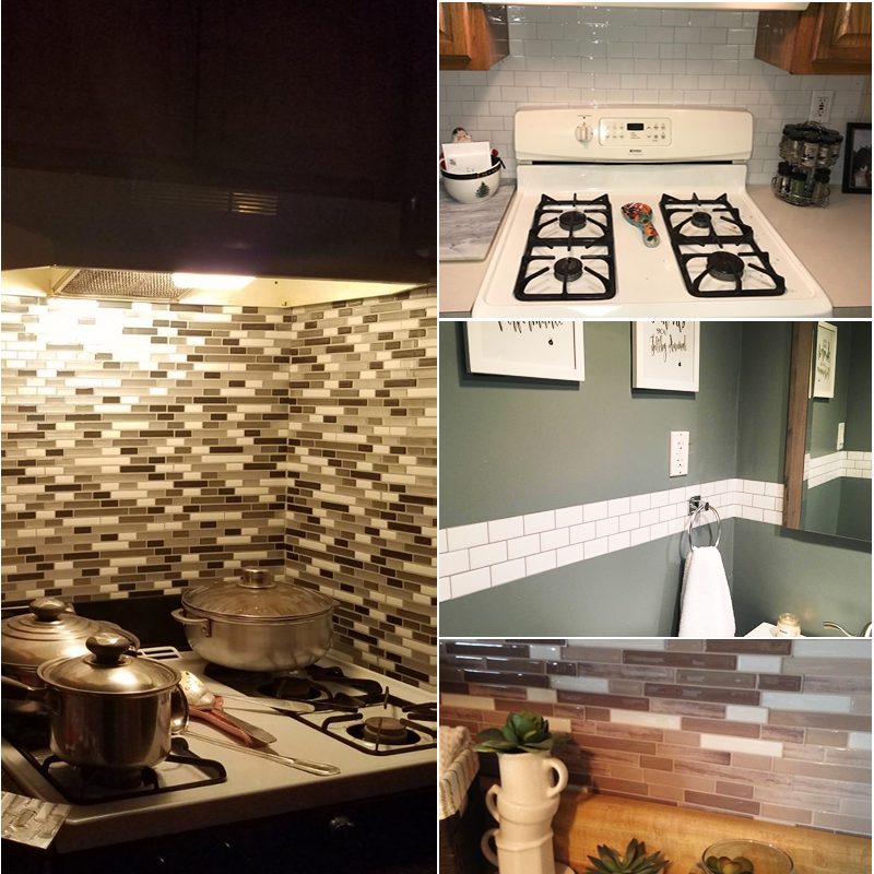 3D Wall Sticker Mosaic Brick Self Adhesive Wall paper for Kitchen Bathroom Home Waterproof DIY Wall Stickers Wall Decal Sticker in Wall Stickers from Home Garden
