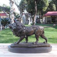Copper sculpture lion crafts animal sculpture decoration home business gift Bronze wedding watch Old Handwork brass statue
