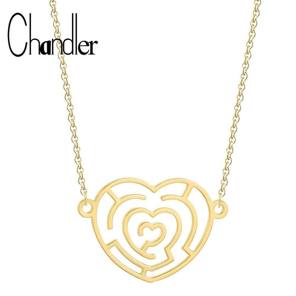 Chandler 1PCS Rose Gold Infinite Love จี้สร้อยคอเขาวงกต Heart Statement โลหะเหล็กปลอกคอตลกของขวัญโรแมนติก