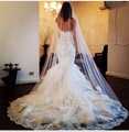 Velos De Novia 2015 Gorgeous White/Ivory Wedding Veils One Layer 3 Meters Lace Appliques With Comb Wedding Accessories Handwork