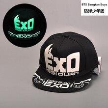 Kpop Nuevo 2018 ms. fluorescente luminoso hombre negro sombrero de hip-hop  Cap exo-m hip hop sombrero plano Exo béisbol sombrero. ef613a68b08