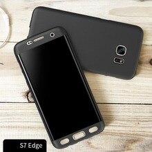 Всего Тела Case для Samsung Galaxy S7 edge Жесткий Задняя Крышка 360 степень Защиты Матовый Гладкий Сенсорный Кожи Shell Коке Капа Funda