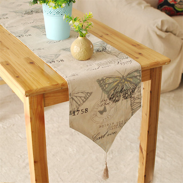 New Arrival Erfly Table Runner Cotton Linen Dinner Runners Insect Macrame Decoration Cover Past Washable