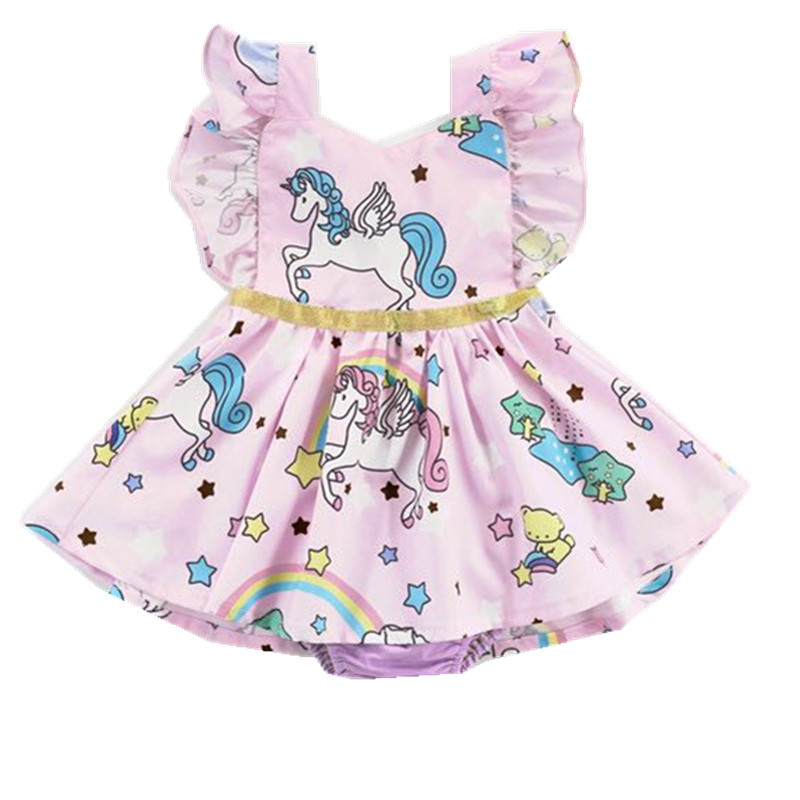 Ins Fashion Unicorn Printing Baby Girls Summer Dress Bandage Princess Tutu Dress For Girl Dresses Cotton Toddler Kids Clothes qx xc 01 stirling engine model toy car small scientific experiments