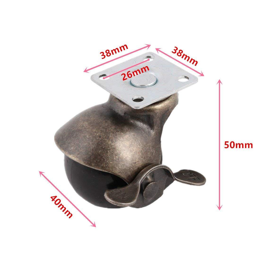 Útil [4 pacote] roda de rodízio de bola com capuz placa superior giratória, bronze antigo (1.5 polegadas com freio)-5