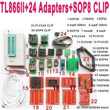 V8 3 XGecu TL866II tl866 ii плюс программист + 24 разъем адаптера + SOP8  клип 1,8 в nand flash 24 93 25 eprom AVR