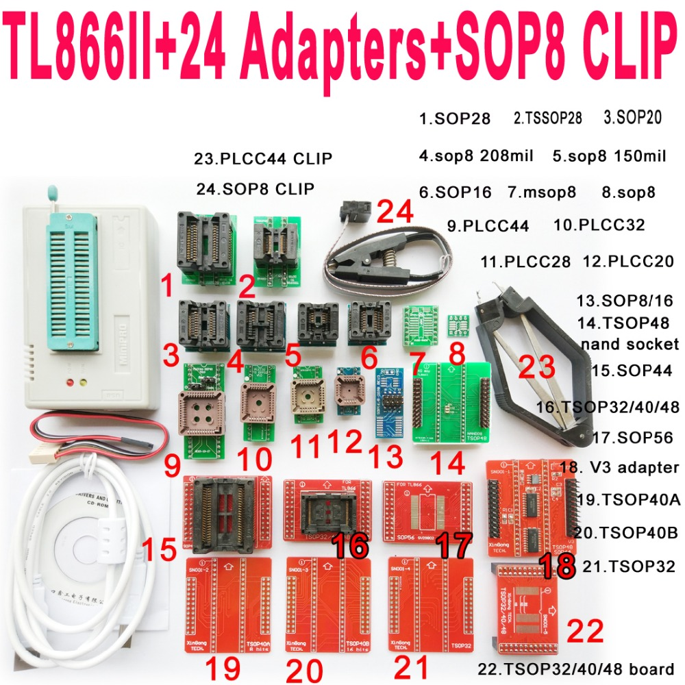 V8.3 XGecu TL866II tl866 ii Plus programmeur + 24 adaptateurs socket + SOP8 clip 1.8 V nand flash 24 93 25 eprom avr mcu Bios programme