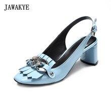 49a0a70c8 JAWAKYE Tassel Corrente de Prata do dedo do pé Quadrado 6 CM Saltos Altos  Slingbacks Sapatos de Mulher de Couro Azul Patente Pre.
