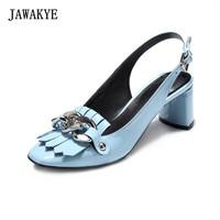 JAWAKYE Square toe Tassel Silver Chain 6 CM High Heels Slingbacks Shoes Woman Blue Black Patent Leather Chunky High heel Shoes