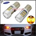 2 unids ámbar amarillo libre de errores samsung led 1156 p21w bombillas led para coche luces direccionales delanteras y traseras, Luces de circulación Diurna