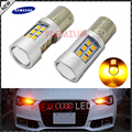 2pcs Amber Yellow Error Free Samsung LED 1156 P21W LED Bulbs For car Front or Rear Turn Signal Lights, Daytime Running Lights