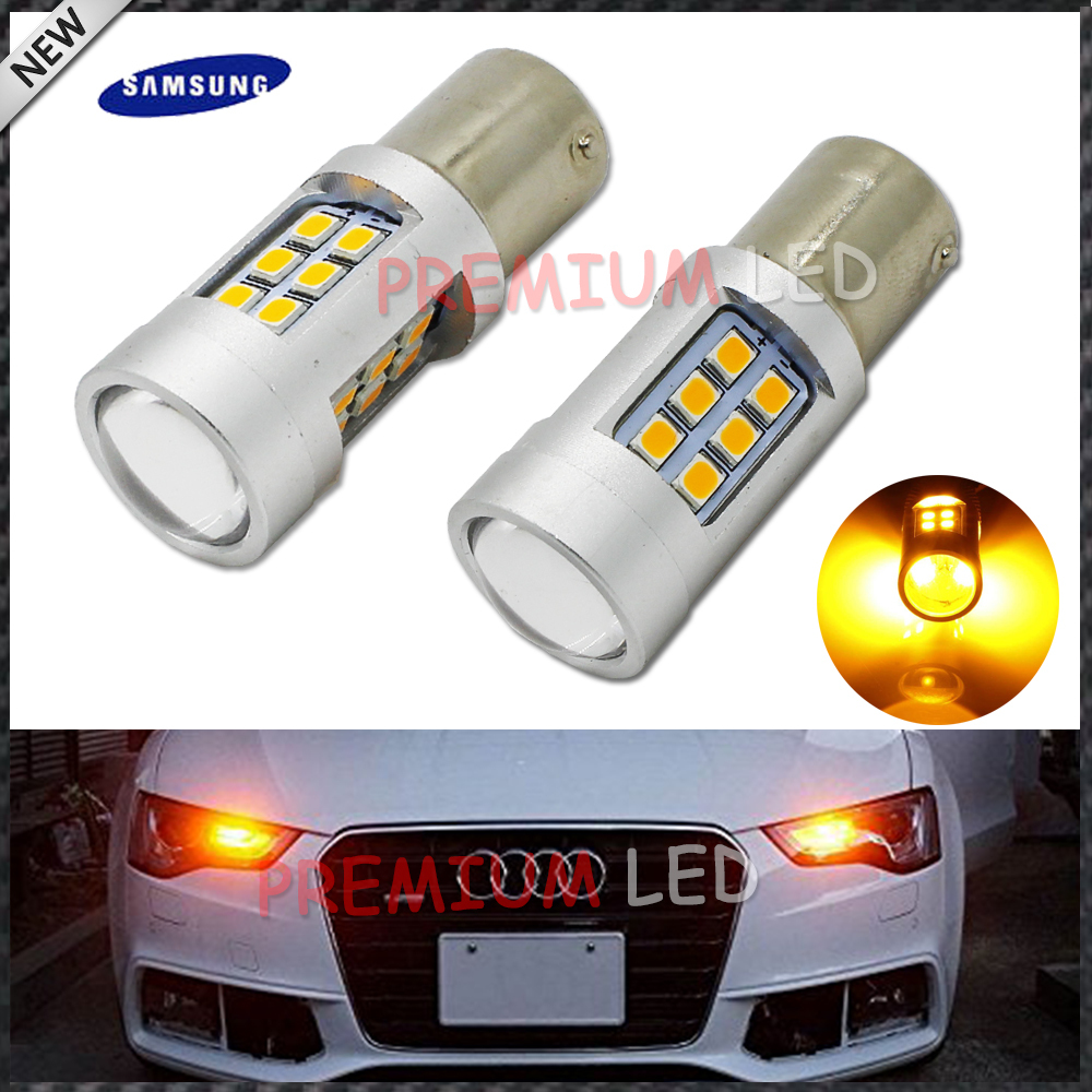 iJDM Amber Yellow Error Free 2835 LED 1156 P21W LED Bulbs For car Front or Rear Turn Signal Lights, Daytime Running Lights ijdm no hyper flash 21w high power amber bau15s 7507 py21w 1156py led bulbs for car front or rear turn signal lights canbus 12v