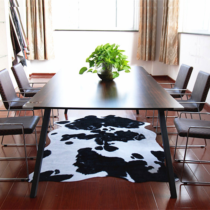 Tapis de fourrure d'animal blanc noir zèbre/vache imprimé tapis motif de vache tapis de fond PU tapis de salon élégant