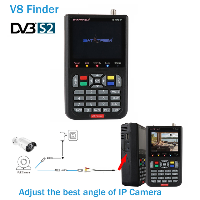 New V8 Finder 3.5 inch LCD HD satellite finder DVB-S2 sat finder digital satellite Finder Meter Ship from Spain