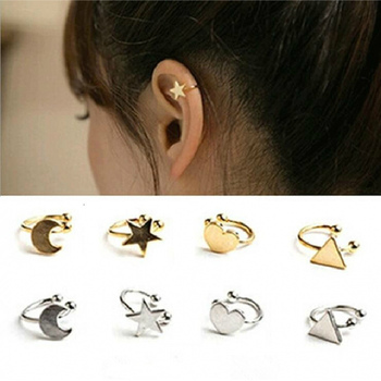 Fashion No Pierced Non-piercing Earcuff Ear Star Moon Heart Triangle Clip-on Clip Earrings