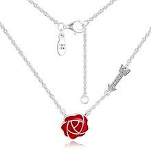 CKK 925 Sterling Silver Jewelry Love Feelings Necklaces Pendant, Berry Red Enamel DIY Making For Women
