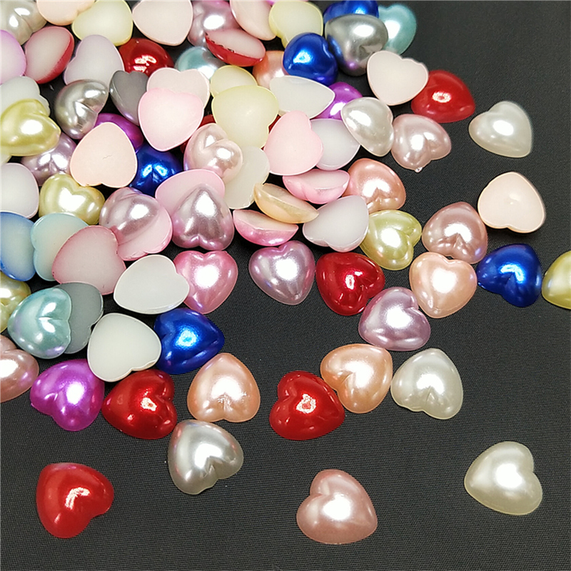 10mm 50pcs light Blue Half Round Pearl Bead Flat Back Scrapbook Embellishment