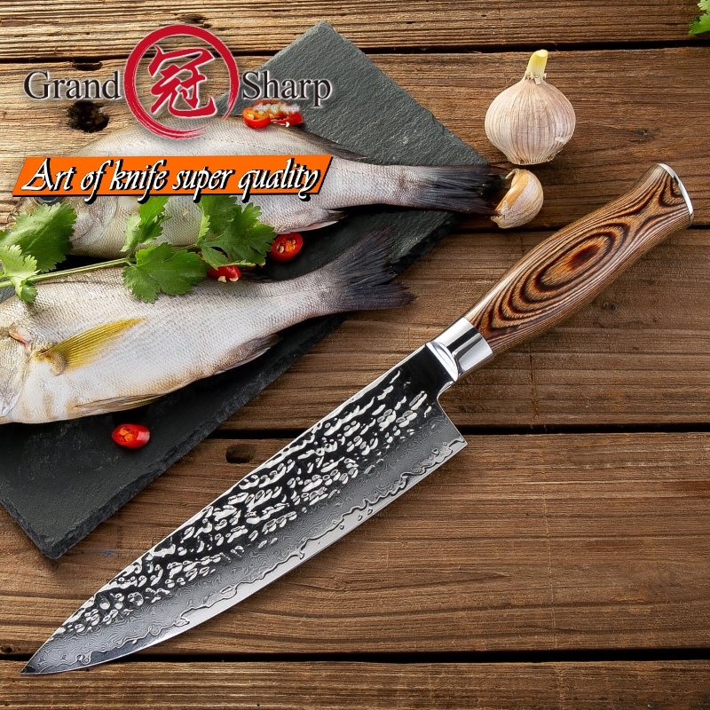 Grandsharp 7 5 Inch Kitchen Chef Knife Damascus Steel Japanese Kitchen Knives VG10 Japanese High Carbon