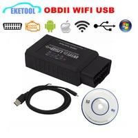 WIFI + Usb-kabel OBD2 Auto Diagnostische Scanner ELM327 WIFI USB Draadloze Multi-language ELM 327 Voor Multi-auto Diagnose GRATIS VERZENDING