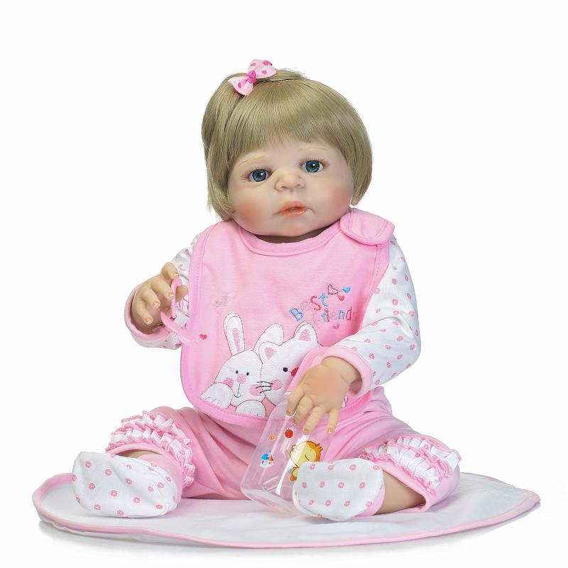 Silicone Doll Reborn 55 cm Full Vinyl Body Doll New Fashion 22 Lifelike Reborn Doll in Pink Rabbit Clothes for Girls Gifts christmas gifts in europe and america early education full body silicone doll reborn babies brinquedo lifelike rb16 11h10