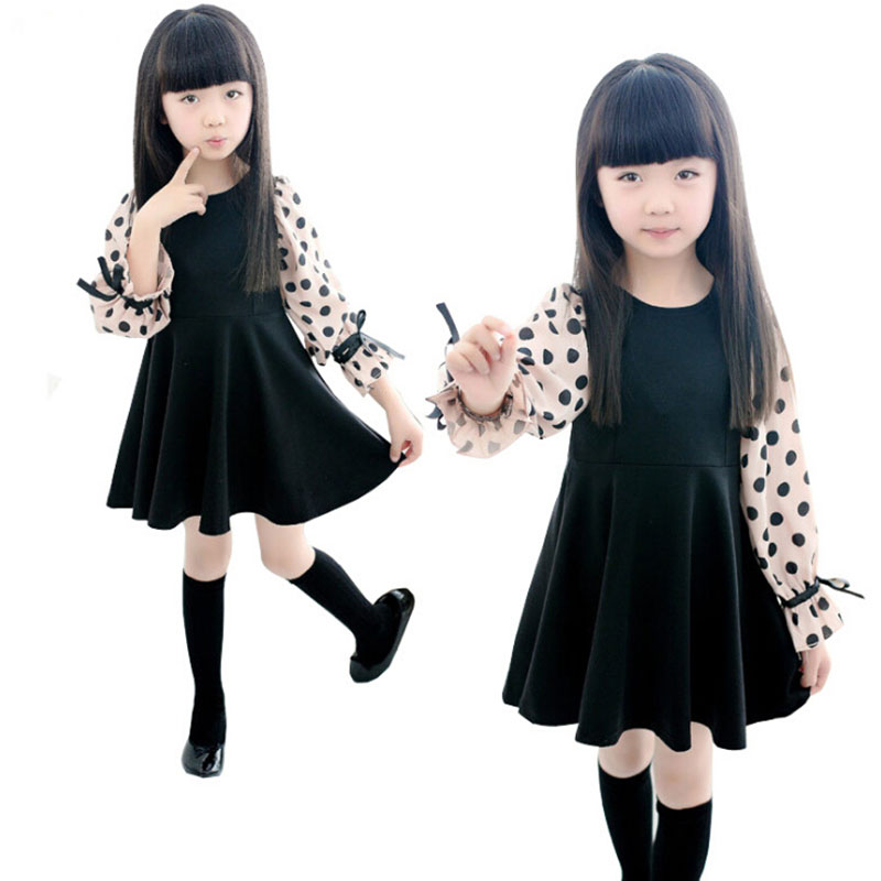 Retail 1 Pcs Baby Girl Dress Spring Summer Fashion 2018 Long-Sleeve Dot Print New Design Girls Dresses Black Brief Kids Clothing new autumn retail baby girls fashion