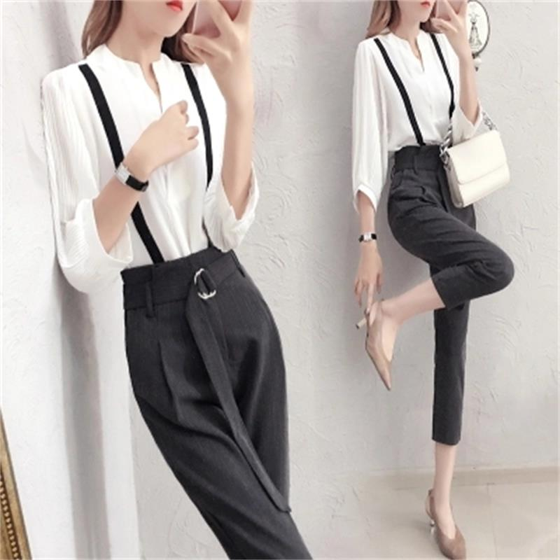 Fashion Suit women spring New high quality Temperament goddess white shirt + nine points pants two-piece Suit women 2