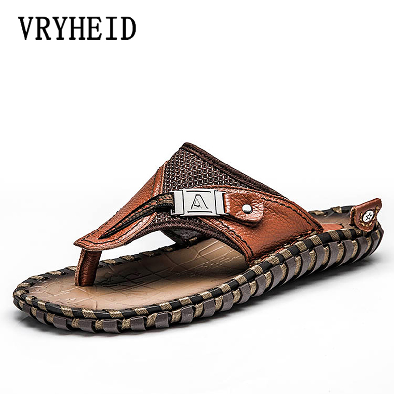 VRYHEID Brand Mens Flip Flops Genuine Leather Luxury Slippers Beach Casual Sandals Summer for Men Fashion Shoes New Big Size 48