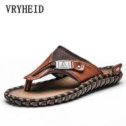 Vryheid marca chinelos de couro genuíno chinelos de luxo praia sandálias casuais verão para homens sapatos de moda novo tamanho grande 48