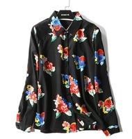 OL temperament lengthening silk shirt Small Lapel cardigan temperament leisure 100 sets Silk Long Sleeve Shirt 2019