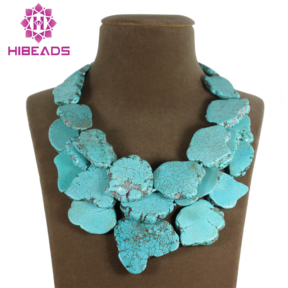 Fantastic Huge Multilayer Stone Beads Necklace Baroque Sheets Chunky Stone Summer Necklace Jewelry Hot TN110