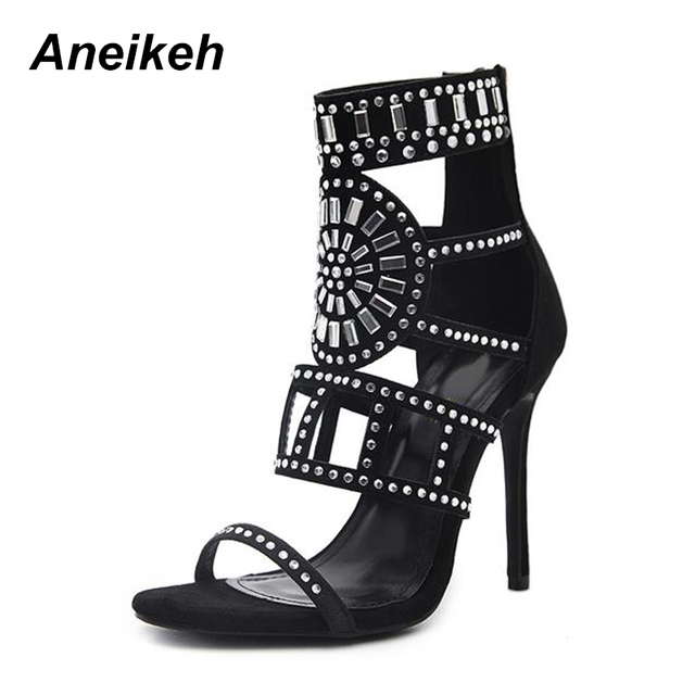 Aneikeh Women Pumps 2018 Sping Summer Peep Toe High Heels Hollow Gladiator  Thin Heel Rhinestone Crystal c0e25dc53fbe