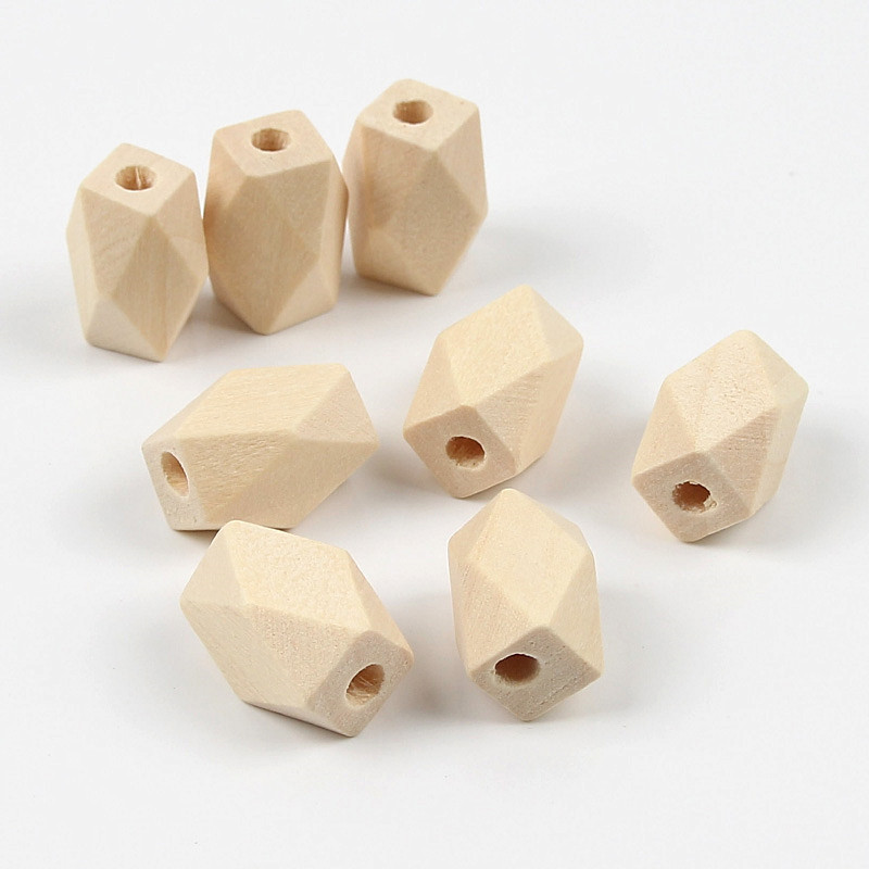 10pcs Faceted Octagonal Beads Wooden Beads DIY Geometric Multi-Shaped Loose Beads Production Handmade Jewelry Accessories(China)