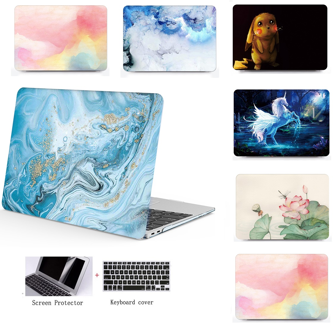 3in1 New Marble Pattern Laptop Case For Apple Macbook Air 11 13 Pro Retina 12 13 15inch Colors Touch Bar Laptop Cover Shell Case