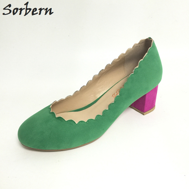 Green and Pink High Heels Women Shoes Round Toe Square Chunky Heel Plus Size US15 Custom Colors Made-to-order Pump Shoes New