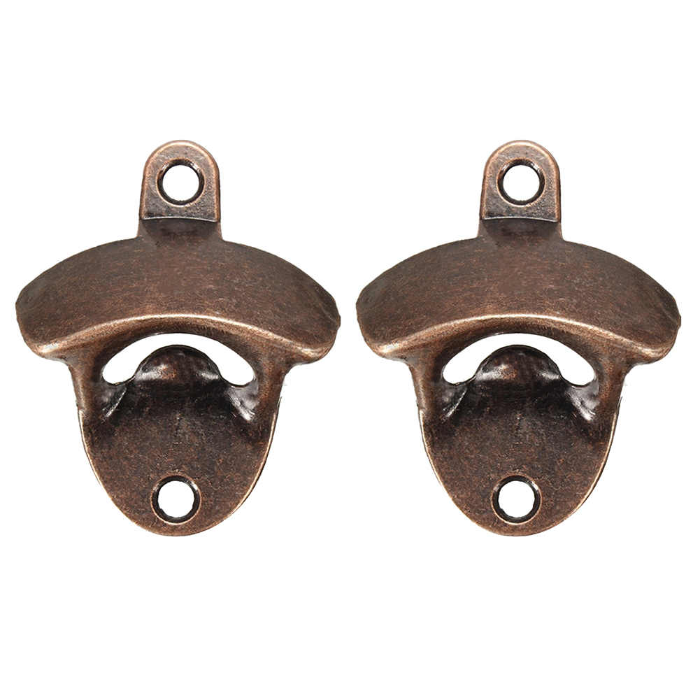 2XRed Bronze Metal Wall Mounted Beer Wine Bottle Cap Bar Opener Bar Kitchen Tool