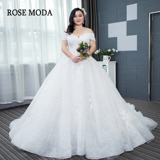 Rose Moda Lace Plus Size Wedding Dress 2019 Off Shoulder Sleeves