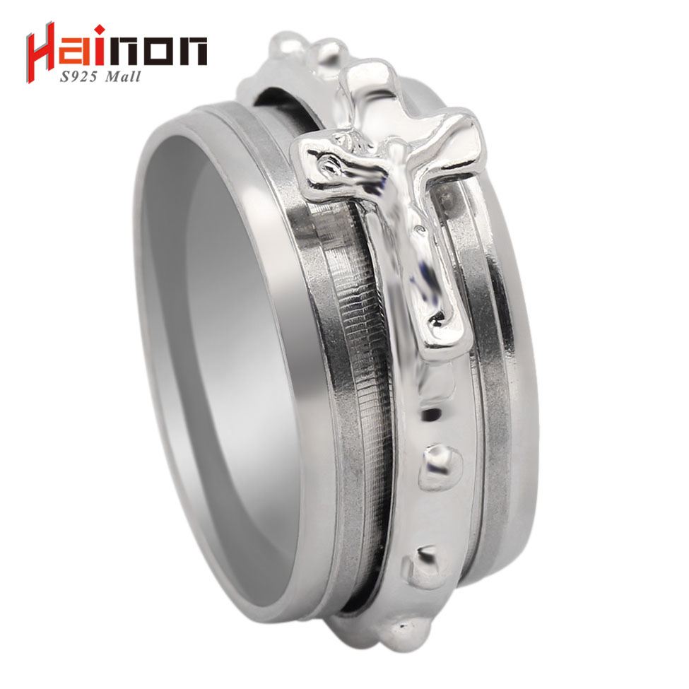 Hainon New Fashion 316L Stainless Steel Rings Gold & Silver Color Cross Jewelry Wholesal ...