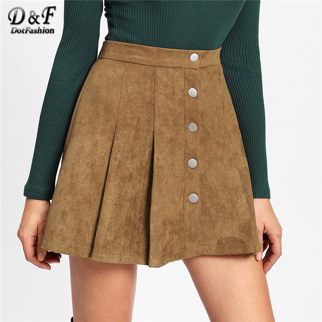 8db3654e418a Dotfashion Camel Single Breasted Suede Skirt Women Casual Autumn Plain  Above Knee Short Spring Preppy Mid Waist Shift Skirt