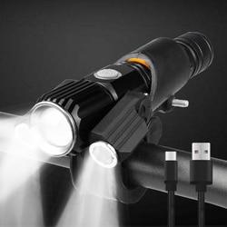 1000 Lumen Senter untuk Sepeda USB Isi Ulang Baterai 18650 MTB Sepeda Depan Lampu Tahan Air LED Headlight Bersepeda Lentera