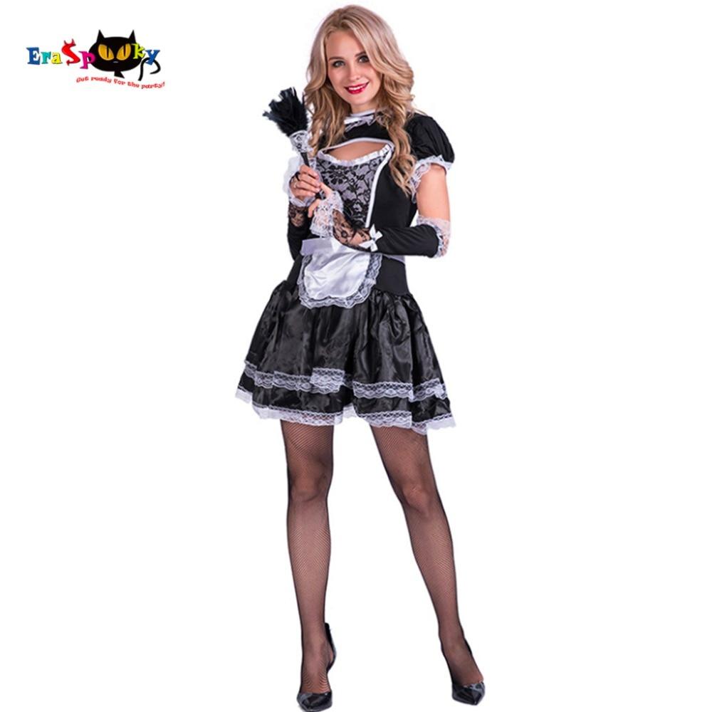 Women Sexy Flirty French Maid Costume Satin Lace Bar -6995
