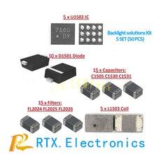 5 set (50 stücke) hintergrundbeleuchtung lösungen Kit für IPhone 6 6 Plus IC U1502 + Spule L1503 + Diode D1501 + Kondensator c1530/ 31/05 + Filter F2024/25/26
