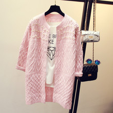5e5e9d520b Autumn winter women fashion pearl beading pink long cardigan jumper women s  long sleeve knitted sweater poncho