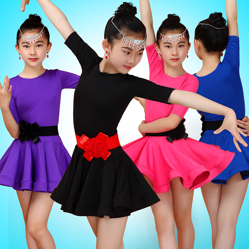 Latin Dance Dress Polyester Round Neck Girls Competition Ballroom Dancing Dresses Kids Samba Cha Performance Dancewear DN2210