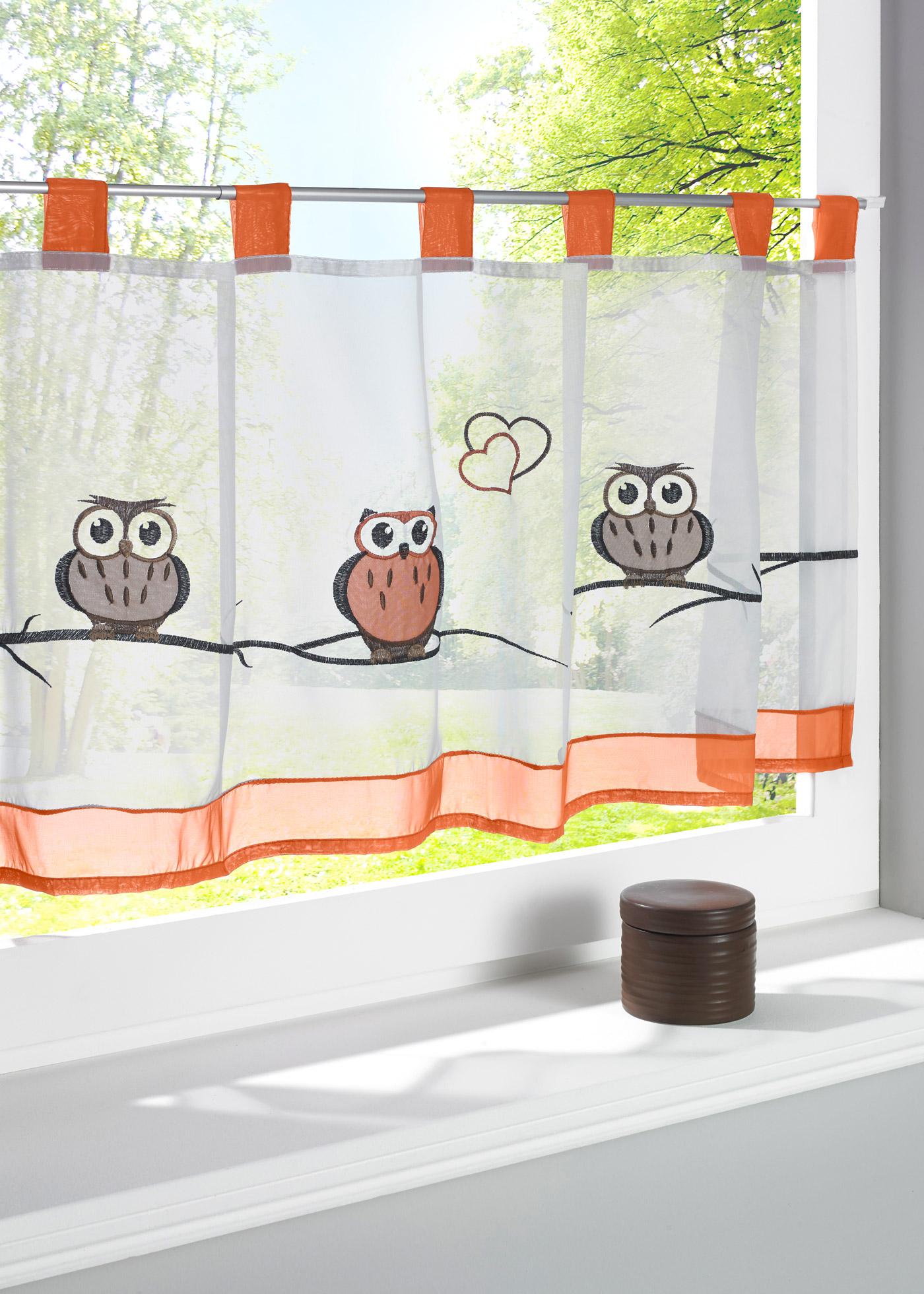 Coffee kitchen curtains - Beautiful Owl Applique Embroidered Small Short Coffee Kitchen Curtain China