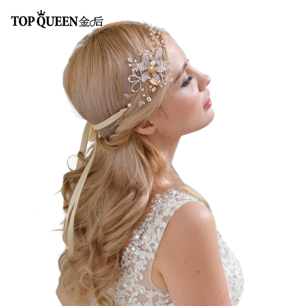 TOPQUEEN HP68 Bridal Headband Wedding Hair Vine Wedding Hair Accessories Pearl And Crystal Beaded Party Jewelry